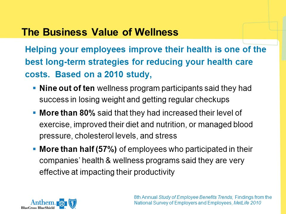 The Business Value of Wellness Helping your employees improve their health is one of the best long-term strategies for reducing your health care costs