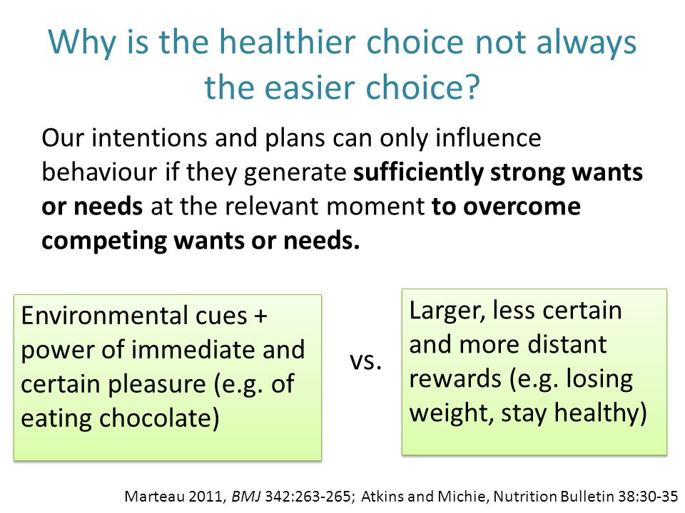 Why is the healthier choice not always the easier choice? Our intentions and plans can only influence behaviour if they generate sufficiently strong w