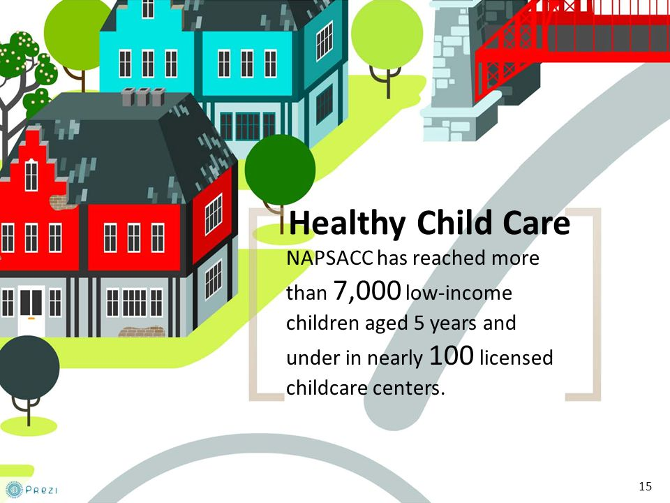 15 Healthy Child Care NAPSACC has reached more than 7,000 low-income children aged 5 years and under in nearly 100 licensed childcare centers.