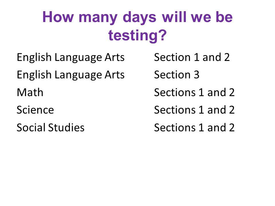 What days will we be testing.English Language Arts Monday, Apr.