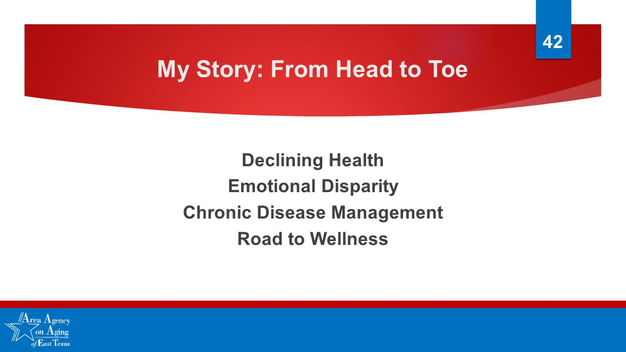 My Story: From Head to Toe Declining Health Emotional Disparity Chronic Disease Management Road to Wellness 42