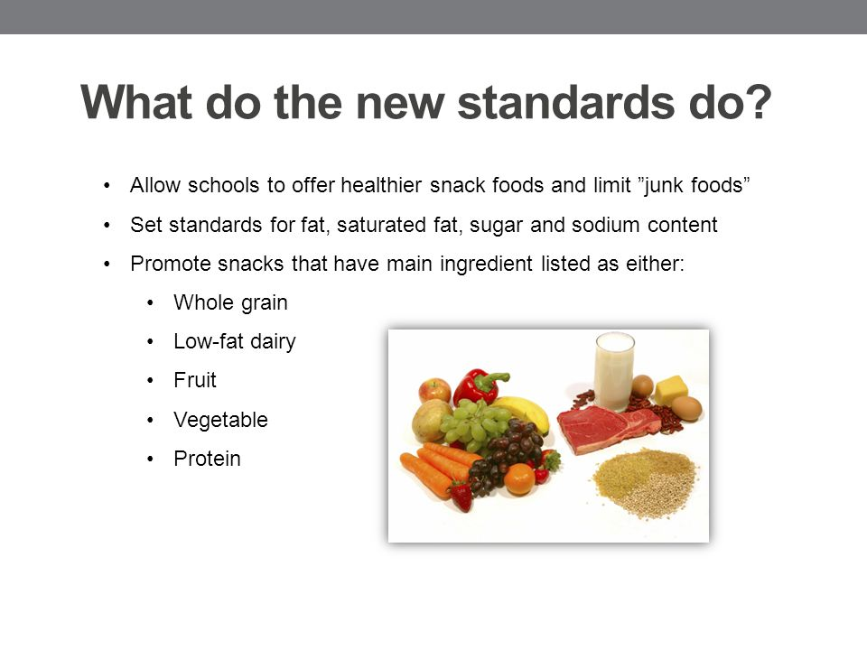 Specific Nutrient Standards for Foods: Food accompaniments Must be included in nutrient profile and considered as part of the food sold.