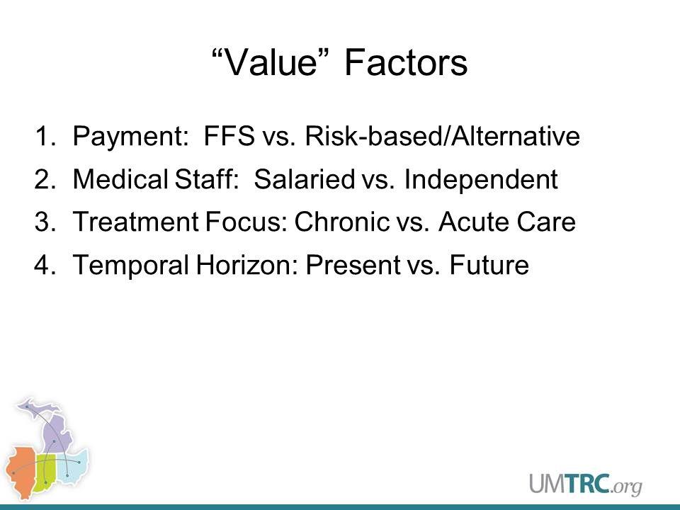 Value Factors 1.Payment: FFS vs. Risk-based/Alternative 2.Medical Staff: Salaried vs.