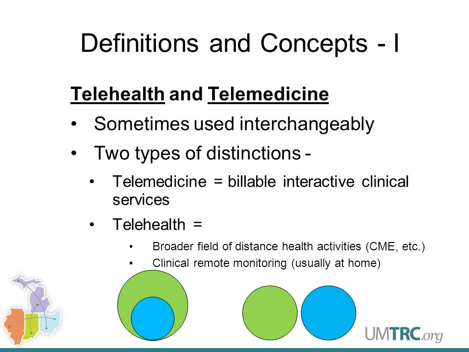 Definitions and Concepts - I Telehealth and Telemedicine Sometimes used interchangeably Two types of distinctions - Telemedicine = billable interactive clinical services Telehealth = Broader field of distance health activities (CME, etc.) Clinical remote monitoring (usually at home)