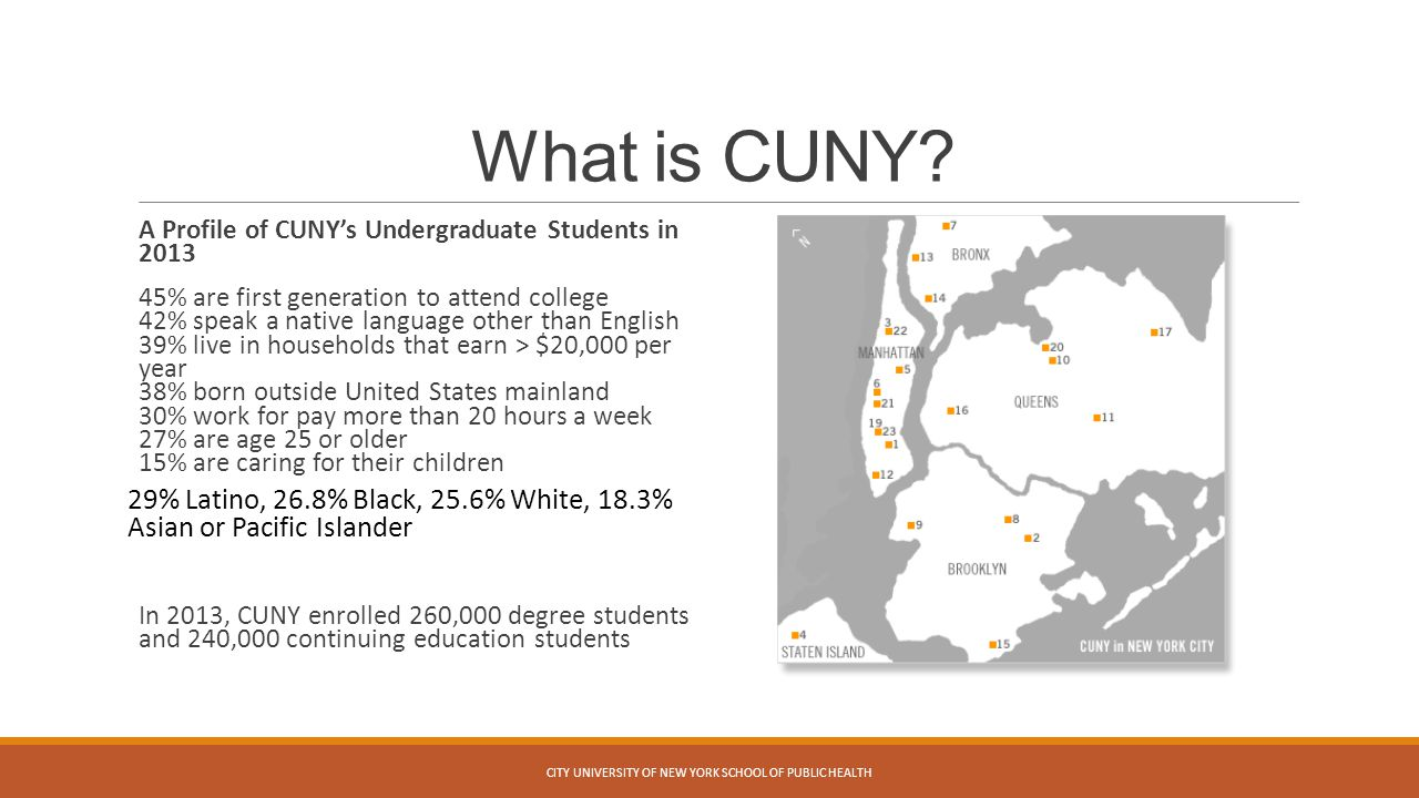 What is CUNY? A Profile of CUNY's Undergraduate Students in 2013 45% are first generation to attend college 42% speak a native language other than Eng