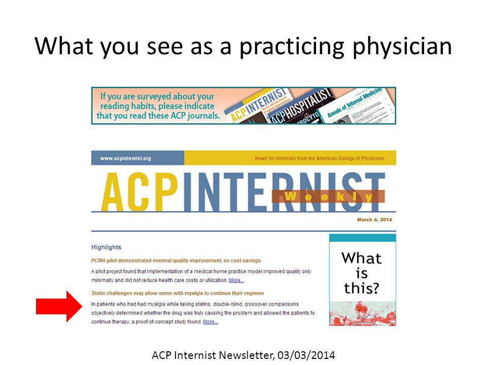 What you see as a practicing physician ACP Internist Newsletter, 03/03/2014