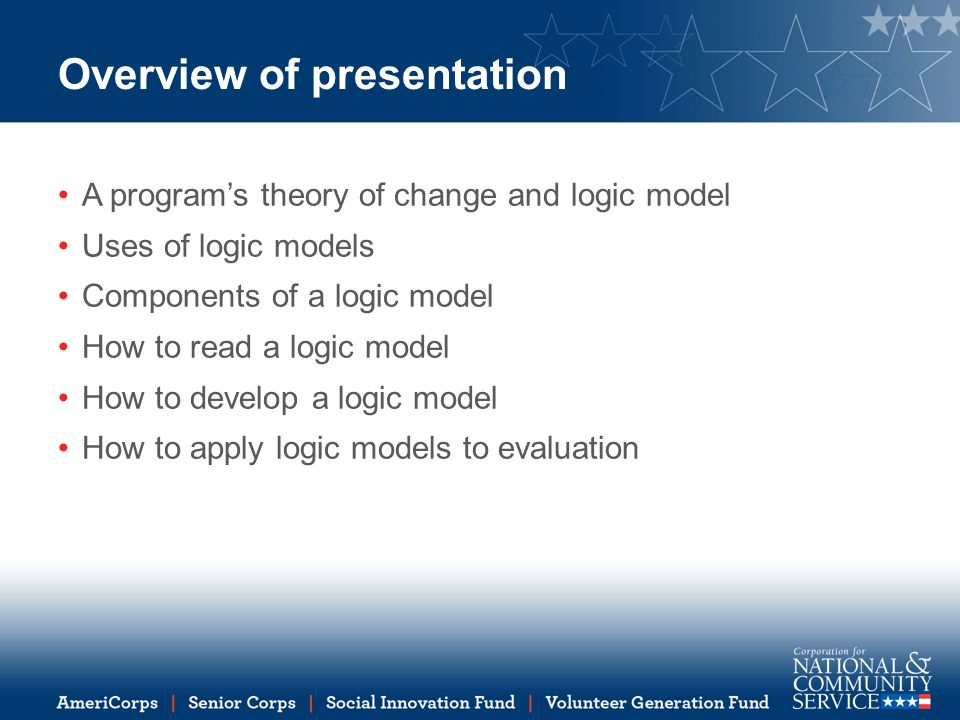How to read a logic model Read from left to right Two sides to a logic model - a process side and an outcomes side