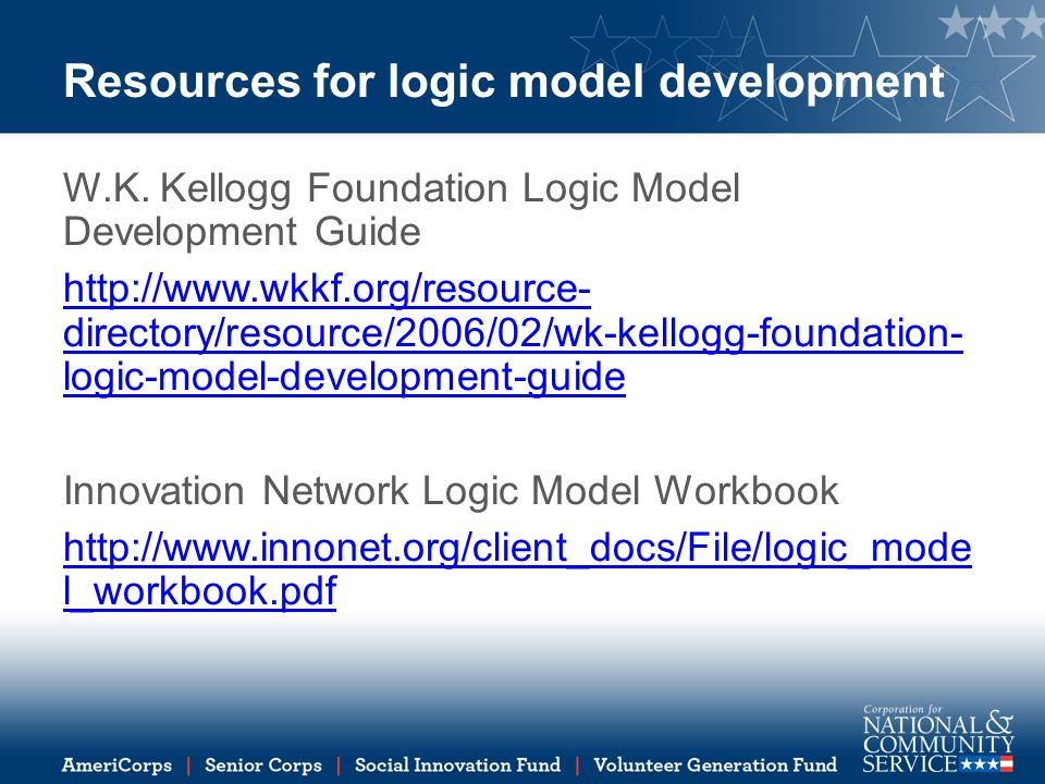 Resources for logic model development W.K.