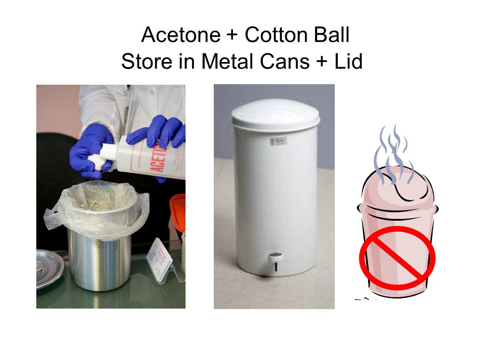 Acetone + Cotton Ball Store in Metal Cans + Lid