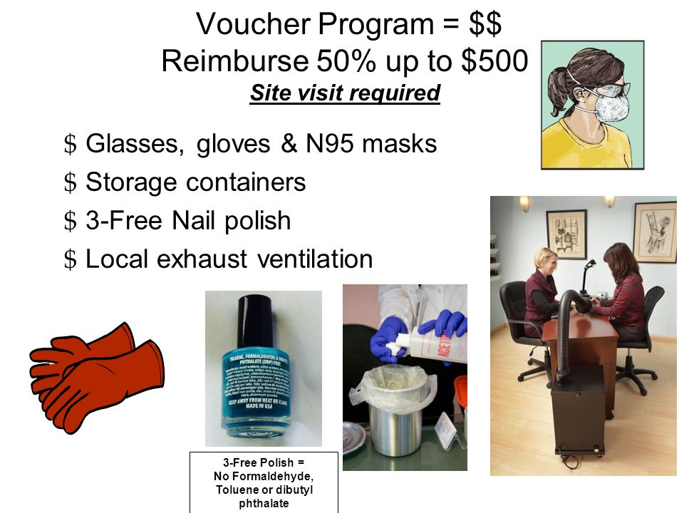 Voucher Program = $$ Reimburse 50% up to $500 Site visit required $ Glasses, gloves & N95 masks $ Storage containers $ 3-Free Nail polish $ Local exhaust ventilation 3-Free Polish = No Formaldehyde, Toluene or dibutyl phthalate