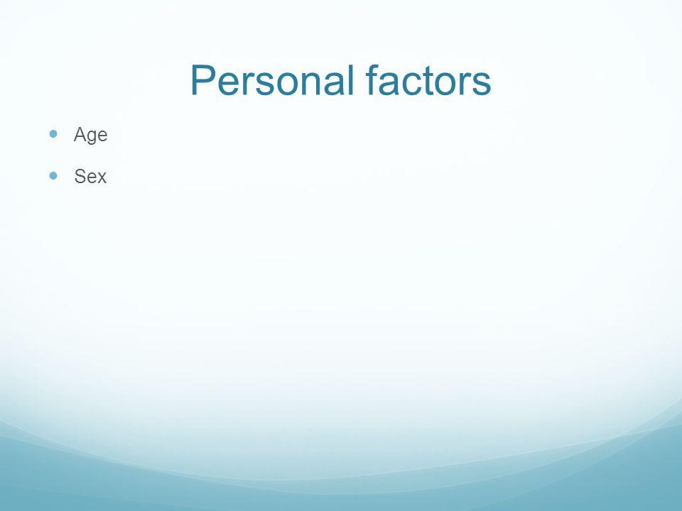 Personal factors Age Sex
