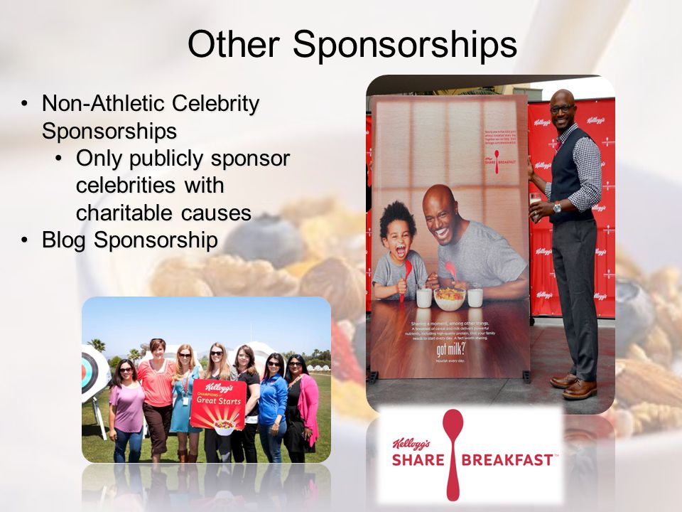 Other Sponsorships Non-Athletic Celebrity SponsorshipsNon-Athletic Celebrity Sponsorships Only publicly sponsor celebrities with charitable causesOnly publicly sponsor celebrities with charitable causes Blog SponsorshipBlog Sponsorship