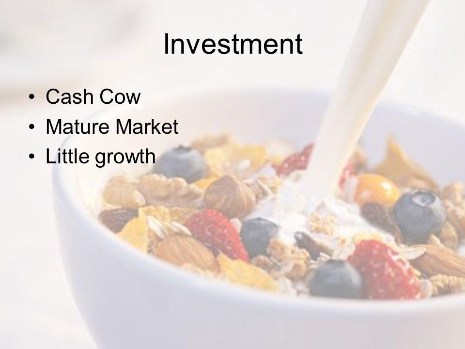 Investment Cash Cow Mature Market Little growth