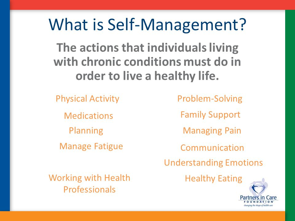 What is Self-Management? The actions that individuals living with chronic conditions must do in order to live a healthy life. Better Breathing Problem