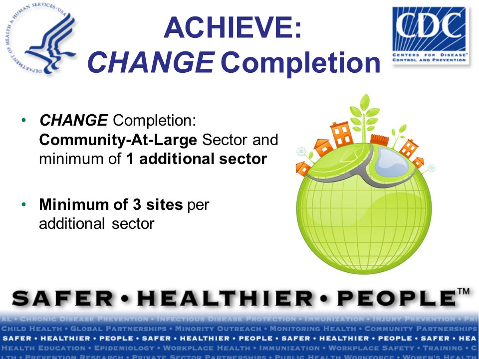 ACHIEVE: CHANGE Completion CHANGE Completion: Community-At-Large Sector and minimum of 1 additional sector Minimum of 3 sites per additional sector