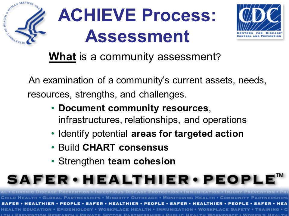 ACHIEVE Process: Assessment What is a community assessment .