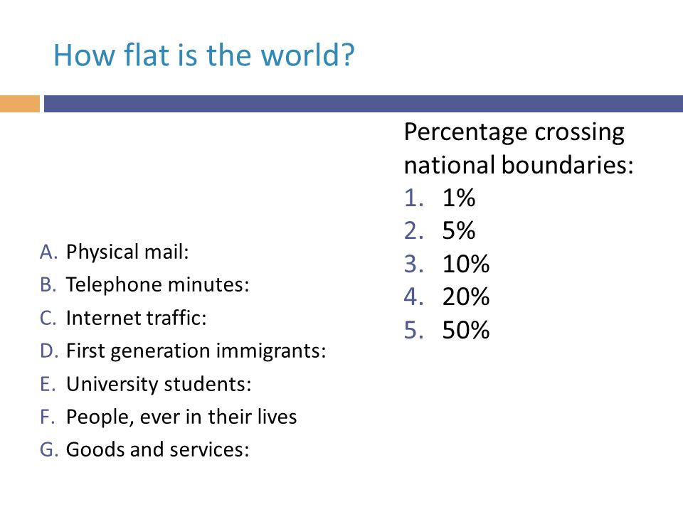 Mostly round; some flat bits (Ghemawat, 2011) Percentage crossing national boundaries  Physical mail:1  Telephone minutes:2  Internet traffic:17  First generation immigrants:3  University students:2  People, ever in their lives:10  Goods and services:10