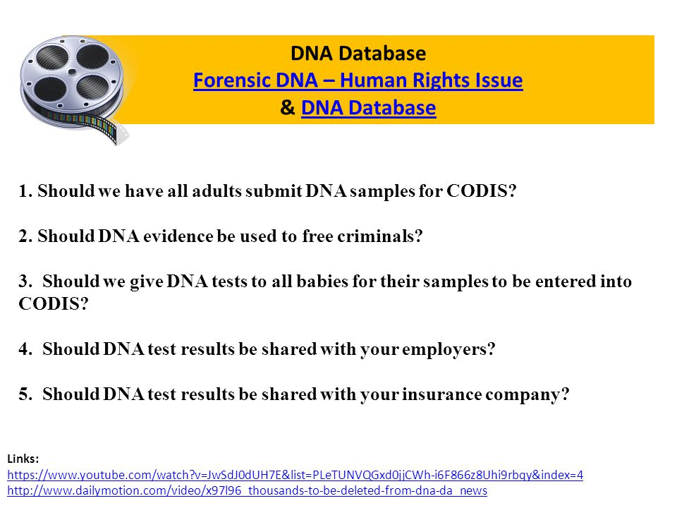DNA Database Forensic DNA – Human Rights Issue Forensic DNA – Human Rights Issue & DNA DatabaseDNA Database 1.