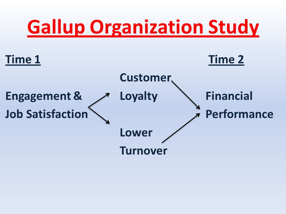 Gallup Organization Study Time 1 Time 2 Customer Engagement &LoyaltyFinancial Job SatisfactionPerformance Lower Turnover