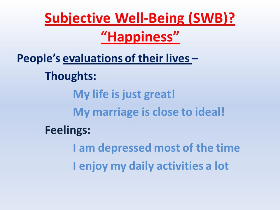 Subjective Well-Being (SWB).