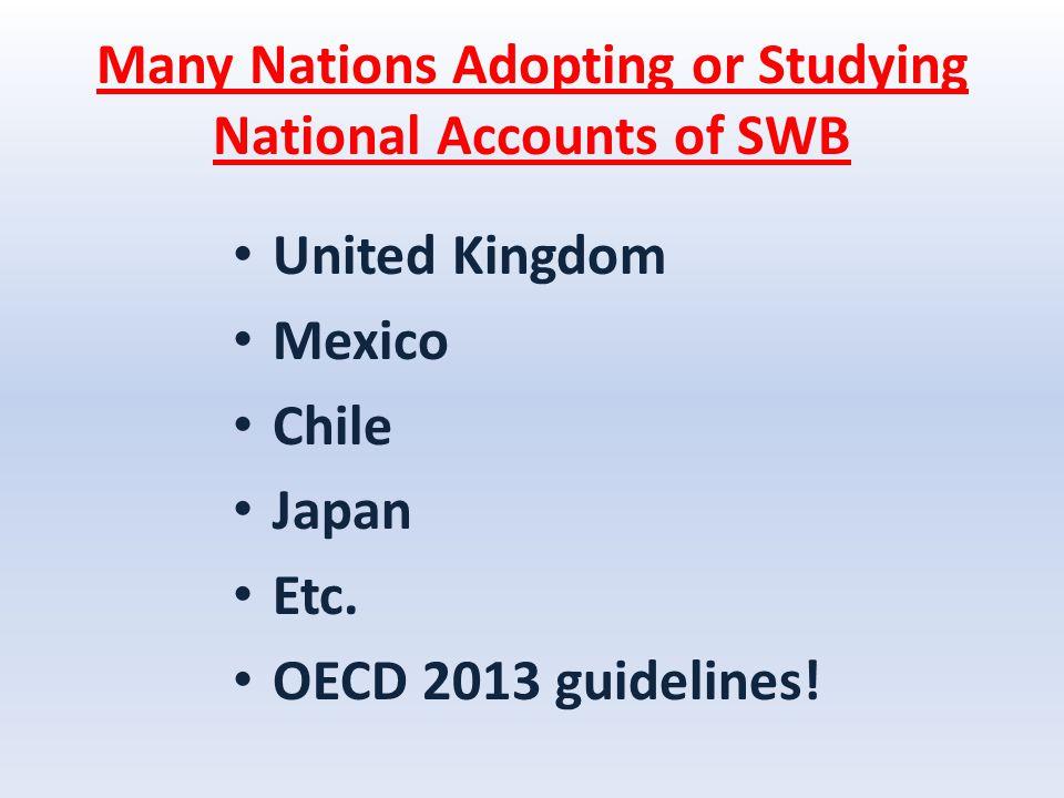 Many Nations Adopting or Studying National Accounts of SWB United Kingdom Mexico Chile Japan Etc.