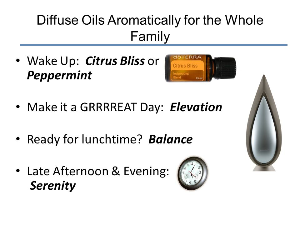 Diffuse Oils Aromatically for the Whole Family Wake Up: Citrus Bliss or Peppermint Make it a GRRRREAT Day: Elevation Ready for lunchtime? Balance Late