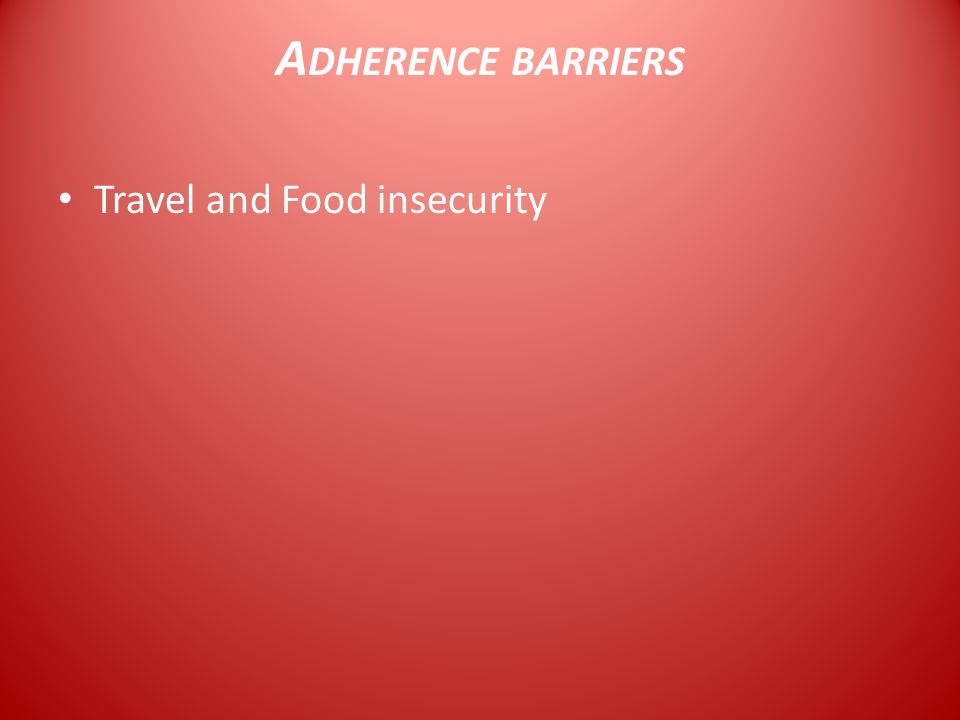 A DHERENCE BARRIERS Travel and Food insecurity