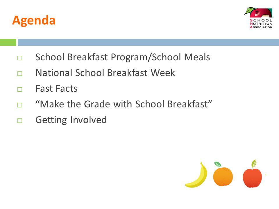 Agenda  School Breakfast Program/School Meals  National School Breakfast Week  Fast Facts  Make the Grade with School Breakfast  Getting Involved