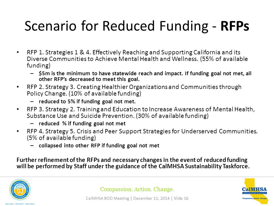 Compassion. Action. Change. CalMHSA BOD Meeting | December 11, 2014 | Slide 16 RFP 1.