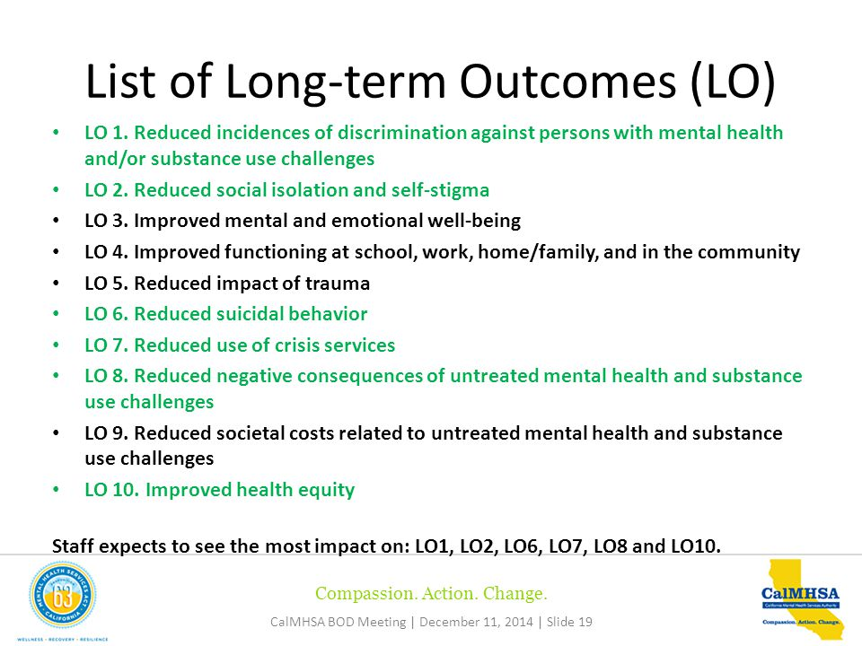 Compassion. Action. Change. CalMHSA BOD Meeting | December 11, 2014 | Slide 19 LO 1.