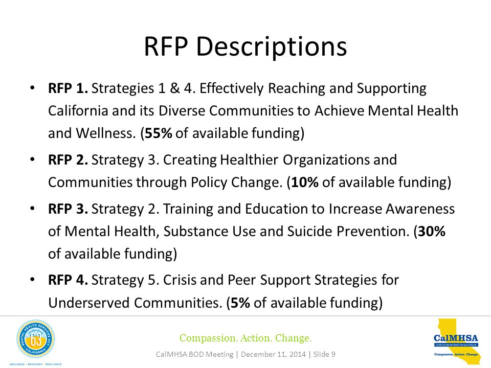 Compassion. Action. Change. CalMHSA BOD Meeting | December 11, 2014 | Slide 9 RFP 1.