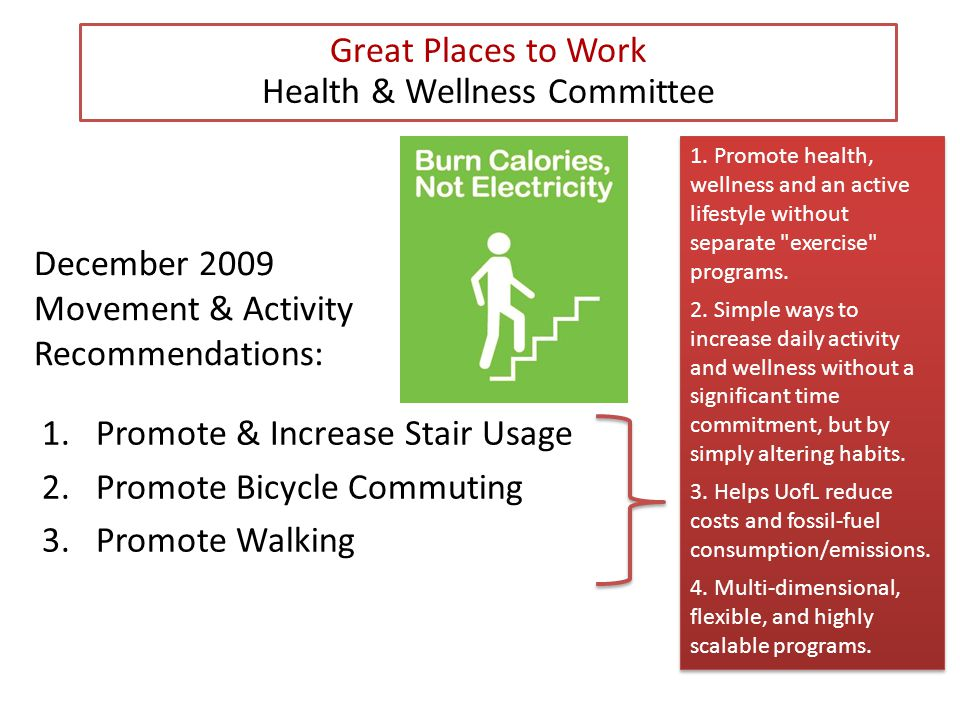 December 2009 Movement & Activity Recommendations: 1.Promote & Increase Stair Usage 2.Promote Bicycle Commuting 3.Promote Walking Great Places to Work Health & Wellness Committee 1.