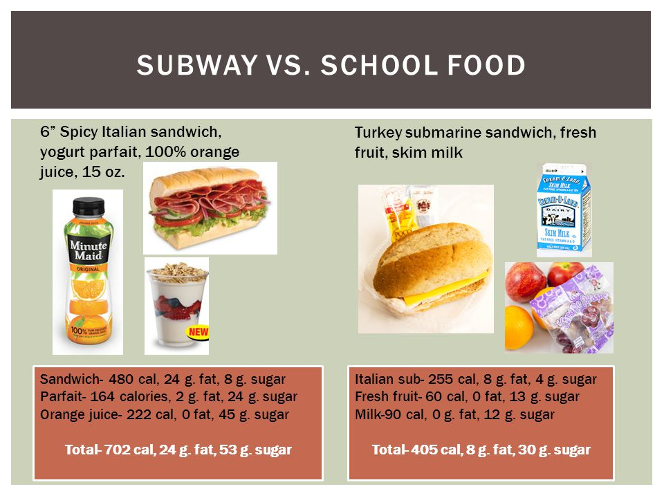 SUBWAY VS. SCHOOL FOOD 6 Spicy Italian sandwich, yogurt parfait, 100% orange juice, 15 oz.