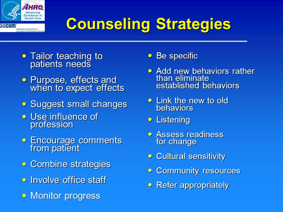 Counseling Strategies Tailor teaching to patients needs Tailor teaching to patients needs Purpose, effects and when to expect effects Purpose, effects and when to expect effects Suggest small changes Suggest small changes Use influence of profession Use influence of profession Encourage comments from patient Encourage comments from patient Combine strategies Combine strategies Involve office staff Involve office staff Monitor progress Monitor progress Be specific Be specific Add new behaviors rather than eliminate established behaviors Add new behaviors rather than eliminate established behaviors Link the new to old behaviors Link the new to old behaviors Listening Listening Assess readiness for change Assess readiness for change Cultural sensitivity Cultural sensitivity Community resources Community resources Refer appropriately Refer appropriately
