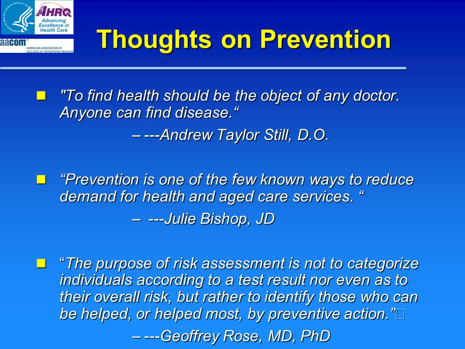 Thoughts on Prevention