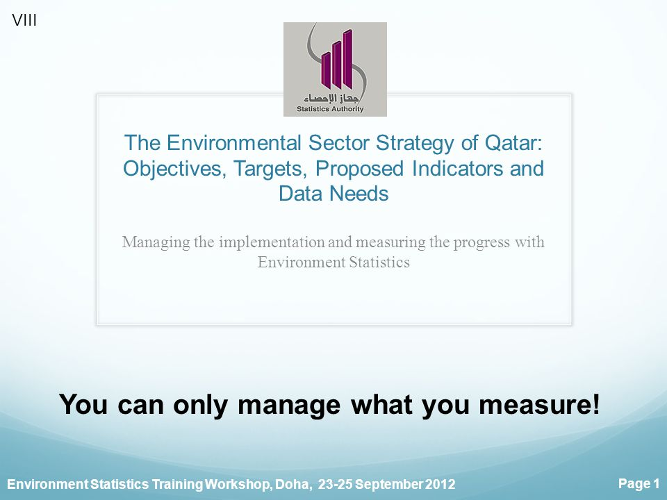 Environment Statistics Training Workshop, Doha, 23-25 September 2012 Page 1 The Environmental Sector Strategy of Qatar: Objectives, Targets, Proposed Indicators and Data Needs Managing the implementation and measuring the progress with Environment Statistics You can only manage what you measure.