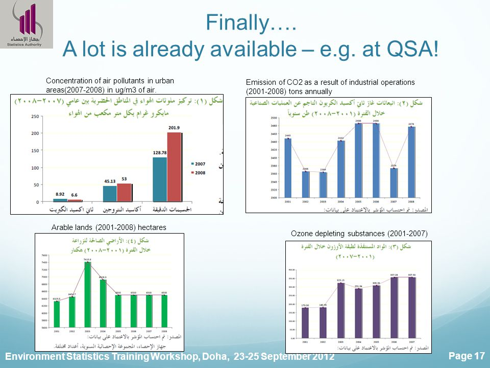 Environment Statistics Training Workshop, Doha, 23-25 September 2012 Page 17 Finally…. A lot is already available – e.g. at QSA! Concentration of air