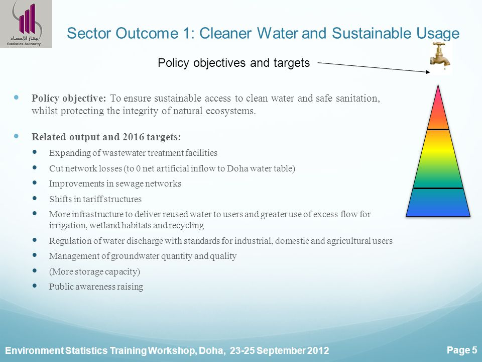 Environment Statistics Training Workshop, Doha, 23-25 September 2012 Page 5 Sector Outcome 1: Cleaner Water and Sustainable Usage Policy objective: To ensure sustainable access to clean water and safe sanitation, whilst protecting the integrity of natural ecosystems.