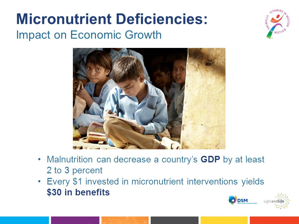 Malnutrition can decrease a country's GDP by at least 2 to 3 percent Every $1 invested in micronutrient interventions yields $30 in benefits Micronutrient Deficiencies: Impact on Economic Growth