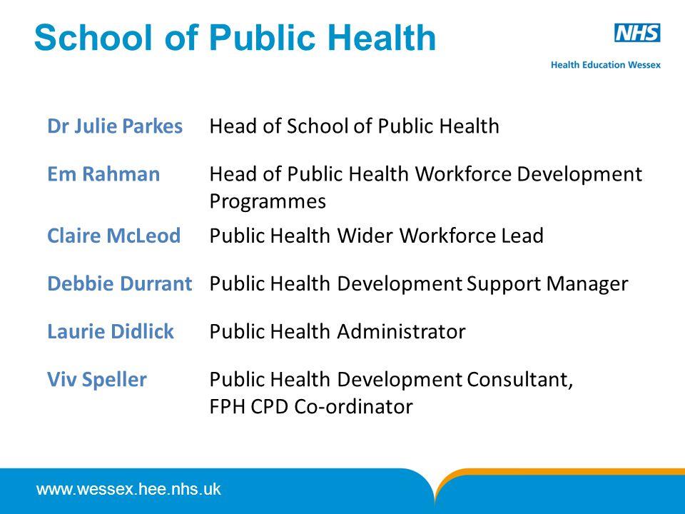 www.wessex.hee.nhs.uk School of Public Health Dr Julie ParkesHead of School of Public Health Em RahmanHead of Public Health Workforce Development Prog
