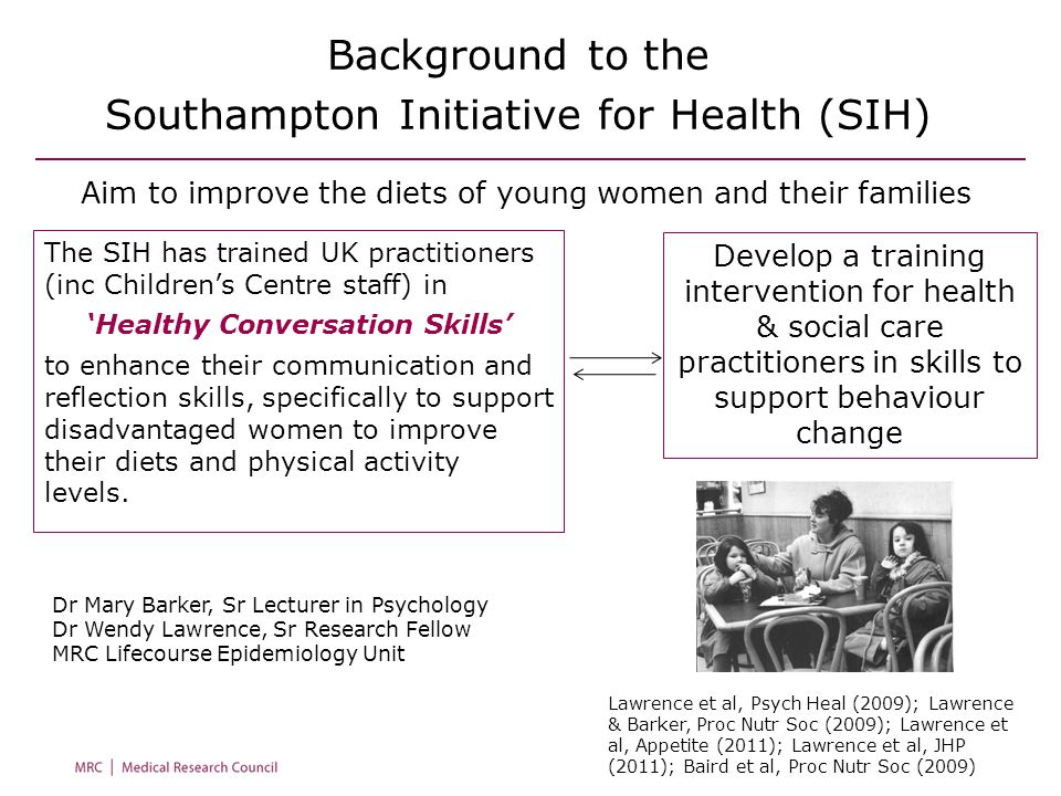 Background to the Southampton Initiative for Health (SIH) Develop a training intervention for health & social care practitioners in skills to support