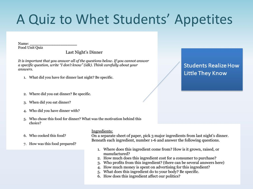 A Quiz to Whet Students' Appetites Students Realize How Little They Know