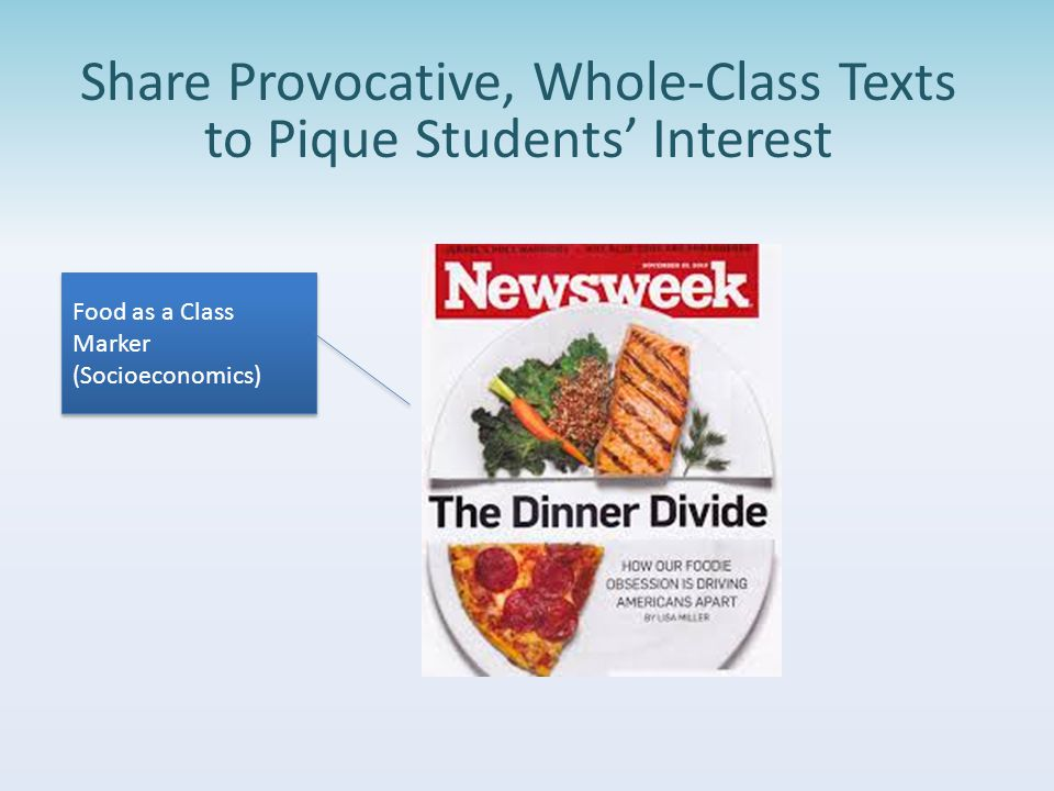 Share Provocative, Whole-Class Texts to Pique Students' Interest Food as a Class Marker (Socioeconomics)
