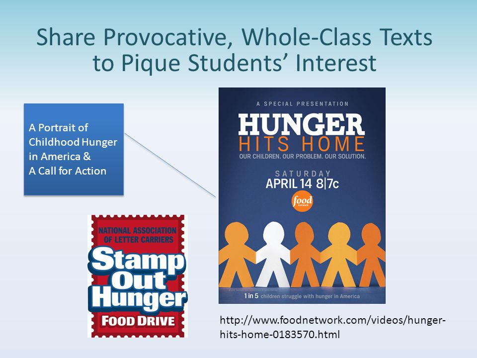 Share Provocative, Whole-Class Texts to Pique Students' Interest A Portrait of Childhood Hunger in America & A Call for Action A Portrait of Childhood Hunger in America & A Call for Action http://www.foodnetwork.com/videos/hunger- hits-home-0183570.html