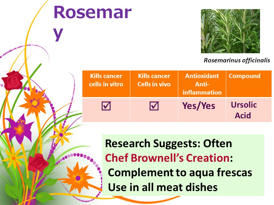 Rosemar y Kills cancer cells in vitro Kills cancer Cells in vivo Antioxidant Anti- inflammation Compound  Yes/Yes Ursolic Acid Rosemarinus officinalis Research Suggests: Often Chef Brownell's Creation: Complement to aqua frescas Use in all meat dishes