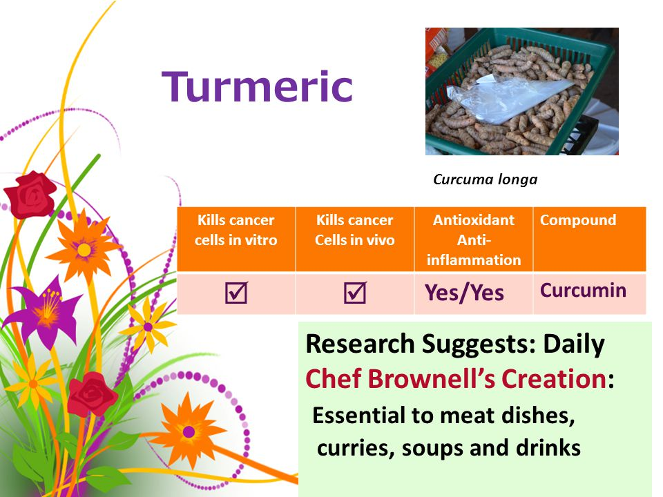 Turmeric Kills cancer cells in vitro Kills cancer Cells in vivo Antioxidant Anti- inflammation Compound  Yes/Yes Curcumin Curcuma longa Research Suggests: Daily Chef Brownell's Creation: Essential to meat dishes, curries, soups and drinks