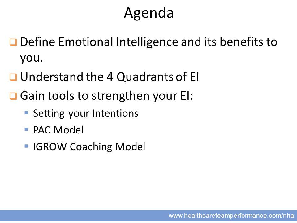 2 www.healthcareteamperformance.com/nha Agenda  Define Emotional Intelligence and its benefits to you.
