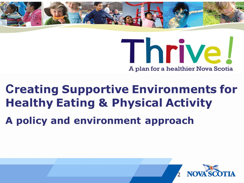 C reating Supportive Environments for Healthy Eating & Physical Activity A policy and environment approach 2