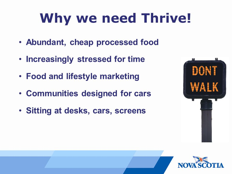 Why we need Thrive! Abundant, cheap processed food Increasingly stressed for time Food and lifestyle marketing Communities designed for cars Sitting a