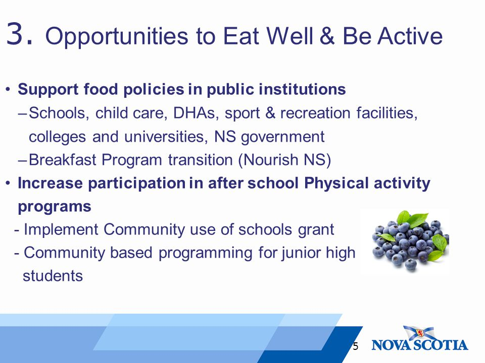 3. Opportunities to Eat Well & Be Active Support food policies in public institutions –Schools, child care, DHAs, sport & recreation facilities, colle